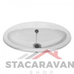 Oval inzet wastafel compleet met standaard afval 520mm