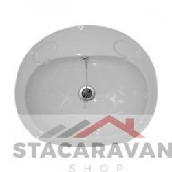 Grote inzet wastafel compleet met afvoer 495 mm (b) x 425mm (d) kleur: wit