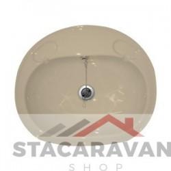 Grote inbouw wasbak compleet met afvoer 495mm (b) x 425 mm (d) kleur: zacht creme