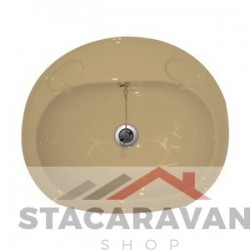 Grote inbouw wastafel compleet met standaard afvoer 495 mm (b) x 425mm (d) kleur: perzik