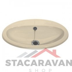 Oval inzet wastafel compleet met standaard afval 520mm  cremé