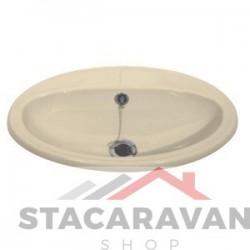 Ovale inbouw  wastafel 520 x 330mm kleur:  Cremé