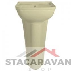 kleine zuil-wasbak compleet met afvoer 365mm[B]x260[D] Ivoor