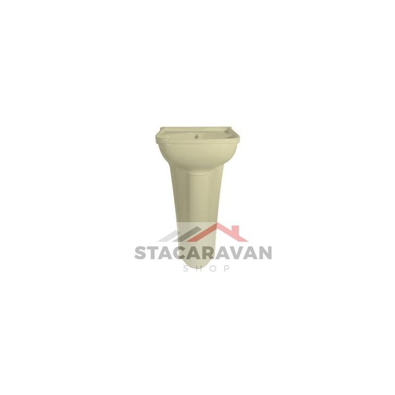 kleine zuilwasbak compleet met afvoer 365mm[B]x260[D] Ivoor  Stacaravan Sho # Wasbak Zuil_225111