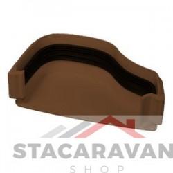 Ogee dakgoot eindkap 115mm voor gut100 links kleur: bruin