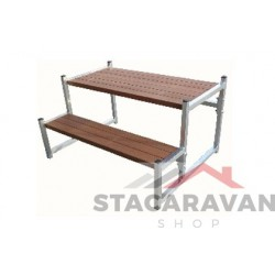 Aluminium opstap met tropisch hard hout