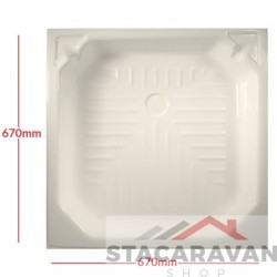 Plastic renovatie douchebak 670x670 mm - kleur: cremé